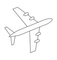 silhouette black and white aircraft in sky vector image vector image
