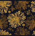 sketched golden flowers seamless pattern with bees vector image