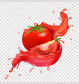 splashing juice with tomato realistic design vector image vector image
