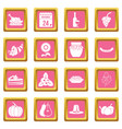 thanksgiving icons pink vector image vector image