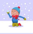 the boy throws a snowball vector image