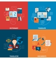 Translation and dictionary flat icons composition vector image vector image