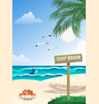 tropical surfing beach vector image vector image