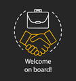 welcome on board concept chalk icon successful vector image vector image