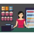 woman in shop vector image