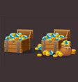 wooden chest set for game interface vector image vector image