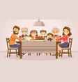 family celebrating thanksgiving holiday card vector image