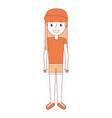 young girl kid character standing cartoon vector image