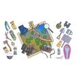 hiking equipment info graphicsmountain icons vector image