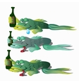 Three funny drunken fishes with bottle vector image
