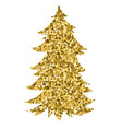 christmas tree by watercolor painting vector image