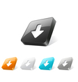 3d web button with download icon vector image vector image