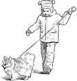 a little child with his pet going on a stroll vector image
