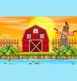 a sunset farmland scene vector image