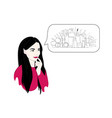 a woman thinks about cosmetics or shopping or vector image vector image