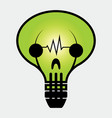abstract icon light bulb with face skull vector image vector image