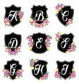 alphabet badges a-i vector image vector image