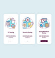 app testing components onboarding mobile page vector image vector image