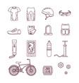 bicycle and accessories thin line set sportive vector image