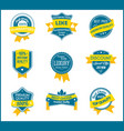 blue and yellow marketing labels set of 9 vector image vector image