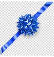 blue shiny bow with diagonally ribbon vector image vector image