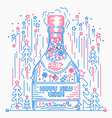 bottle of champagne happy new year line art style vector image