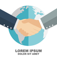 business handshake with globe in background global vector image vector image