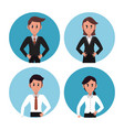 business people in round icons vector image vector image