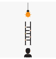 Businessman and light bulb with ladder vector image vector image