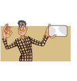 cartoon man in shirt shows a blank card and the vector image vector image