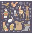 christmas animals set vector image vector image