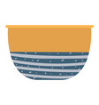 clay bowl ceramic dishware pattern blue color vector image vector image