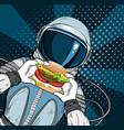 cosmonaut on blue background eating cheeseburger vector image vector image