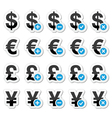 Currency icons set - dollar euro yen pound vector image