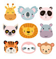 cute animal faces hand drawn characters vector image