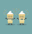 cute cartoon winter and holiday coffee couple vector image