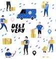 delivery service cargo industry seamless pattern vector image