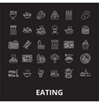 eating editable line icons set on black vector image
