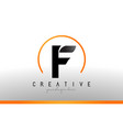 f letter logo design with black orange color cool vector image
