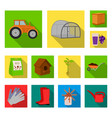 farm and gardening flat icons in set collection vector image