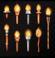fire torch realistic set vector image