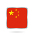 Flag of China Shiny metallic gray square button vector image