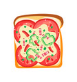 flat icon of delicious sandwich toast vector image vector image