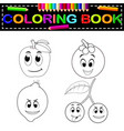 fresh fruit with face coloring book vector image vector image