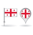 Georgian pin icon and map pointer flag vector image