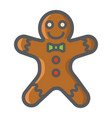gingerbread man filled outline icon new year vector image