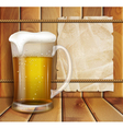 glass of beer and a wooden background vector image vector image