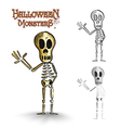 Halloween monsters spooky human skeleton EPS10 vector image vector image
