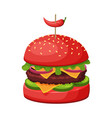 hamburger with cheese bun with sesame seeds vector image
