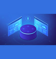 isometric voice control website and app vector image